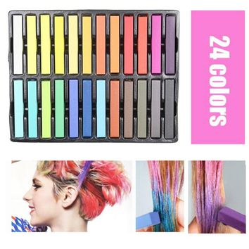 24 Pcs/Set Temporary Hair Chalk Non-Toxic Rainbow Colors Dye Pastel Kit Color Essentials Set HS11