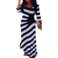 Women 3/4 Sleeve O-neck Long Maxi Casual Dress Woman Stretch Bodycon Striped Party Full Length Dresses