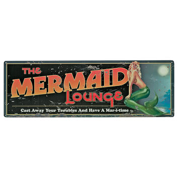 """Park Avenue Collection """"The Mermaid Lounge"""" Antique Look Tintype Sign"""