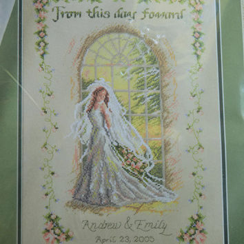 Free US Shipping, Plaid Bucilla Kit From This Day Forward by Kathy E. Fincher, Wedding Announcement, Counted Cross Stitch, Unopened Kit Gift
