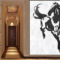 Original Art Abstract Horse Painting Black And White Horse, HAND PAINTED Original Art.