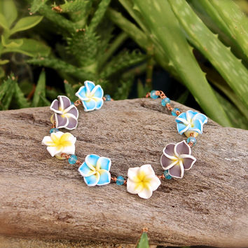 Plumeria Lei Jewelry from Hawaii - Hawaiian Plumeria Anklet - Tropical Flower Ankle Bracelet - Hawaiian Jewelry Colorful Hawaii Beach Anklet