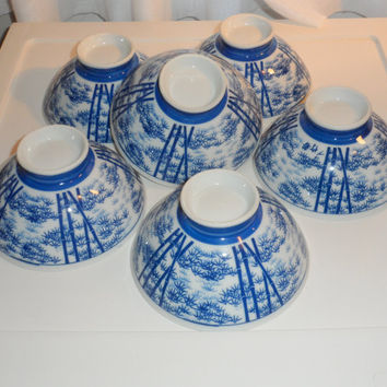 1960s Vintage Asian Tea or Rice Bowls, Porcelain Rice Bows,Asian Bowls to Eat or Drink From, Cobalt Blue Bamboo Pattern on White Background