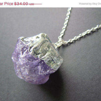 SALE Raw Amethyst Necklace - Huge Amethyst Pendant - Amethyst Jewelry - Statement Necklace - Electroplated Necklace - -