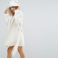 ASOS PETITE Fluffy Cloud Robe with Ears at asos.com