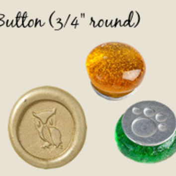 "Button Sized 3/4"" Designs Glass Handle Wax Seal Stamps"