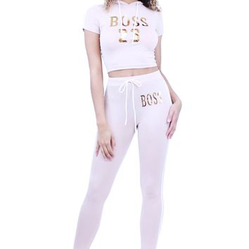 Coco And Boss Hoodie Crop Top And Skinny Workout Pants Set