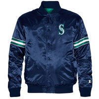 Starter Seattle Mariners Genuine Satin Full Zip Jacket - Navy Blue