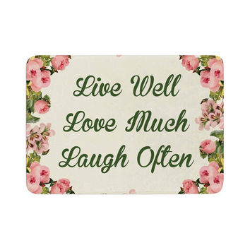 "NL Designs ""Live, Love, Laugh"" Floral Typography Memory Foam Bath Mat"
