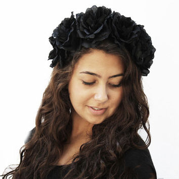 Black Rose Flower Crown, Headband, Black Rose Crown, Black Flower Crown, Rose Headdress, Gothic, Holiday Fashion Accessory, Gift Idea, Tiara
