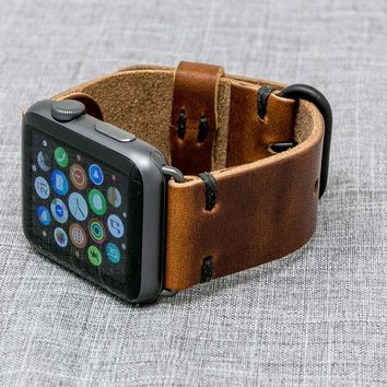 Apple Watch Strap | The Hudson Strap for Apple Watch | Horween Chestnut Dublin Leather Band w/ Black Thread - Handmade