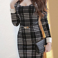 Black Houndstooth Long Sleeve Bodycon Dress