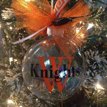 Custom Christmas ornament, personalized Christmas ornament, Wartburg Knights, glass ornament, Iowa Christmas ornament, custom ornament