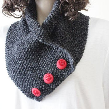 Chunky Scarf - Loop Scarf - Hand Knit Scarf With Red Buttons - Hand Knit  Scarf For Elegant Women