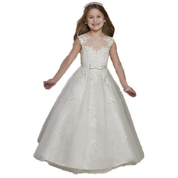 DF285 New Arrival Lace Flower Girl Dresses 2017 First Communion Dresses For Little Girls Customized Pageant Dresses