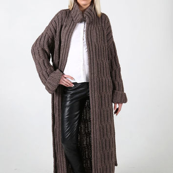 PDF pattern. Hand knitted long coat with belt. Digital pattern from Ilze Of Norway.
