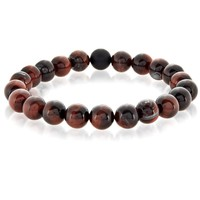 Crucible Men's Polished Red Tiger Eye and Black Matte Onyx Bead Stretch Bracelet - 8.5 inches (10mm Wide) | Overstock.com Shopping - The Best Deals on Men's Bracelets