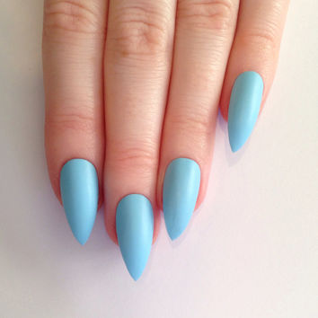 Matte Baby Blue Stiletto nails, Nail designs, Nail art, Nails, Stiletto nails, Acrylic nails, Pointy nails, Fake nails