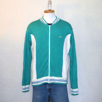 Vintage 70s IZOD LACOSTE Soft Warm Up Jumper Medium Athletic Stylish Acrylic Full Zip Sweater JACKET