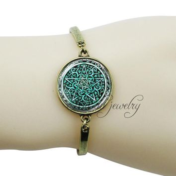 Green pentagram charm bracelets bronze plated pentacle bangle jewelry vintage wristband jewelry wiccan occult pendant charms
