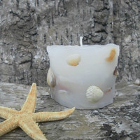 Seashells candle Beach Decor Seashell Candle - Shell Candle  Beach wedding decor