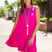 General Flattery Dress, Fuchsia