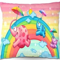 Decorative Woven Couch Throw Pillows from DiaNoche Designs by Artist Toosh Toosh Home Unique Bedroom, Living Room and Bathroom Ideas Rainbow Elephants