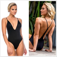 Fashion Women Deep V-Neck Backless One-Pieces Bikini Sexy Women Swimwear Bathing Suit = 5617098753