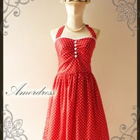 Red Party Dress..Vintage 50's Inspired Halter Neck Red White Polka Dot White Lace Wedding Prom Party Dress Once Upom a Time -Size M