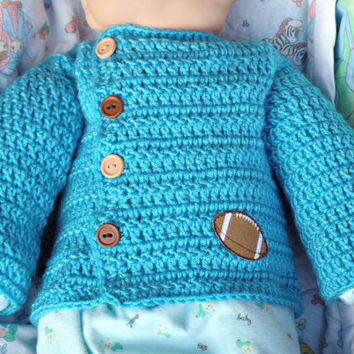 Preemie or Reborn Blue Football Cardigan, Baby Sweater Hand Crocheted, Baby Shower Gift, Unisex Infant sweater, Reborn Infant Sweater Blue