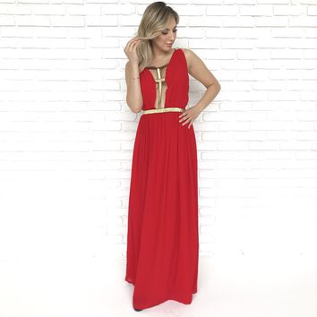 Catching Fire Red Maxi Dress