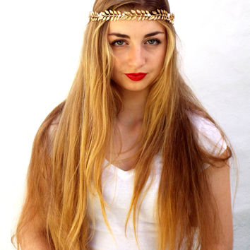 Gold leaf headband, Wedding tiara, Bridal Headpiece,  Greek Goddess, Flower crown, Golden Hair Wreath