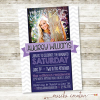 "Modern Waves Graduation Party DIY Printable Invitation with Photograph in Gray, Navy, Lavender and Pinks - 5"" x 7"""