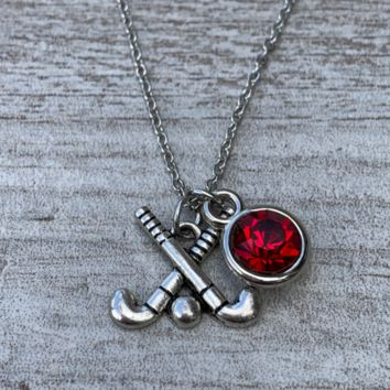 Personalized Field Hockey Stick Necklace with Birthstone Charm