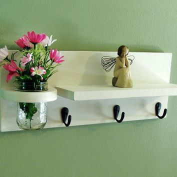 Shelf with Jar Vase  Key Hooks  Black Hooks Painted Wood