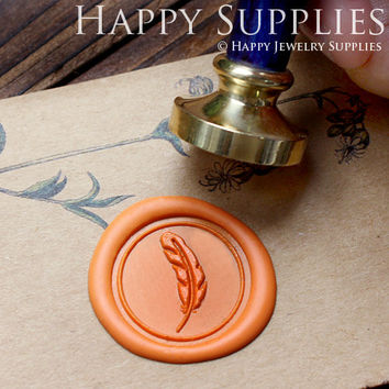 1pcs Feather Gold Plated Wax Seal Stamp (WS047)