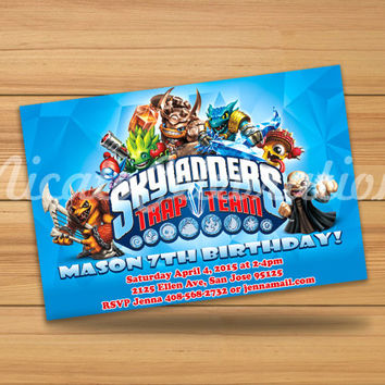 Blue Skylanders Design Invitation - Digital File
