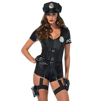 3PC.Flirty Five-0,romper w/utility belt,pin-on badge,hat in BLACK