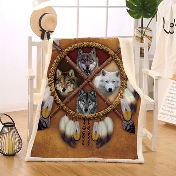 BlessLiving Wolves Dreamcatcher Fleece Blanket Indian Wolf Reversible Sherpa Throw Blanket on the Bed Wild Animal Tribal 150x200