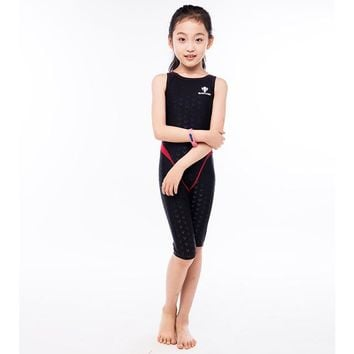 HXBY Professional Racing Swimsuit One Piece Suit Slim Quick-dry Little Girl Swimsuit Children Swimwear Swimming Clothing