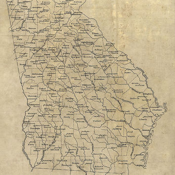 Antique Map of Georgia (1893) - Archival Reproduction