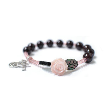 Rose mother-of-pearl Rosary bracelet, God mother, Swarovski Crystal, Garnet