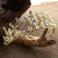 Colorful Beads Gold Pearl Tiara Crown Cosplay Bridal