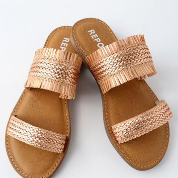 Oralia Rose Gold Slide Sandals