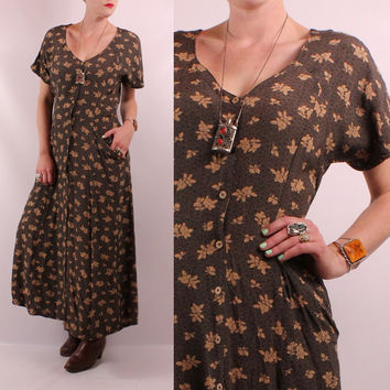 Vintage 90s - Black & Tan Floral - Button Down - Slouchy Pockets - Short Sleeve Long Flowy Maxi Dress - Romantic Grunge