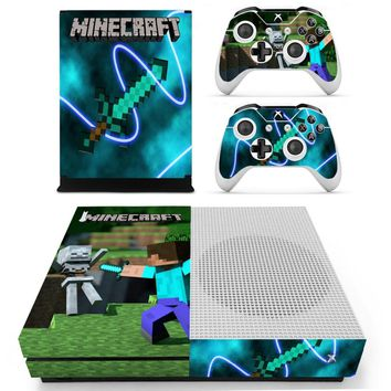 Minecraft Vinly Skin Sticker Decals For XBOX One S Console With Two Wireless Controller Skin