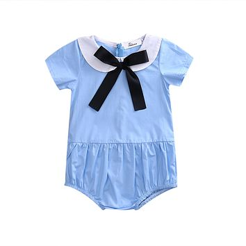 Summer Newborn Infant Baby Girls Short Sleeve Romper Peter pan Collar bow-knot Jumpsuit Outfits Sun-suit Clothes