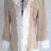 Vintage Women's Jacket  Suede and faux fur - fur cuffs collar  brown - 80's  Boho - hippie  Colebrook and Co 40 inch bustline - med to lrge