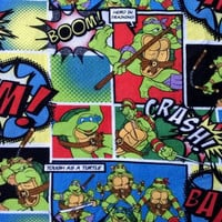 Teenage Mutant Ninja Turtle 2014 Comic Strip Cotton Fabric 2 3/4 Yards X0385