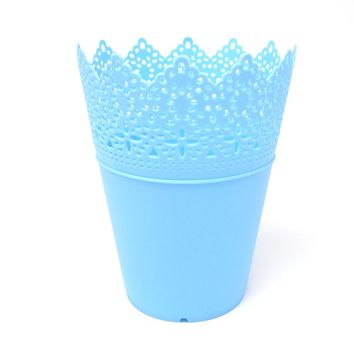 Crochet Styled Plastic Bucket Party Favor, Blue, 7-1/2-Inch, 12-Count